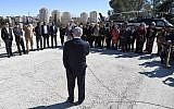 PM Netanyahu speaking to visiting UN ambassadors outside his Jerusalem office, February 3, 2019 (Haim Tzach/GPO)