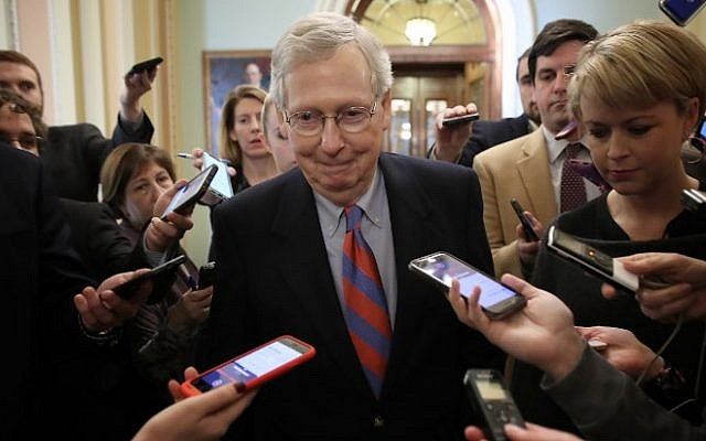In this file photo taken on January 25, 2019, US Senate Majority Leader Mitch McConnell talks with reporters at the US Capitol in Washington, DC (WIN MCNAMEE / GETTY IMAGES NORTH AMERICA / AFP)