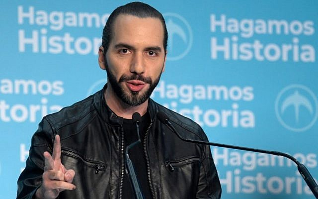 El Salvador presidential candidate Nayib Bukele of the Great National Alliance (GANA) speaks to the media after declaring victory in the presidential election in San Salvador on February 3, 2019. (Marvin Recinos/AFP)