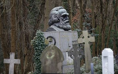 The tomb of German revolutionary philosopher Karl Marx, a Grade I-listed monument, is seen in Highgate Cemetery in north London on February 5, 2019. (Tolga Akmen/AFP)