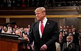 US President Donald Trump arrives to deliver the State of the Union address at the US Capitol in Washington, DC, on February 5, 2019. (Doug Mills/POOL/AFP)