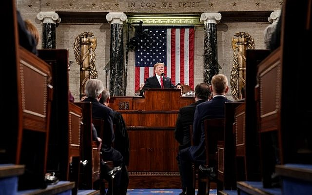 US President Donald Trump delivers the State of the Union address at the US Capitol in Washington, DC, on February 5, 2019. (Doug Mills/POOL/AFP)
