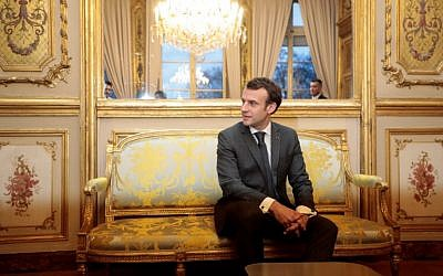 French President Emmanuel Macron at the Elysee palace on February 8, 2019 in Paris. (Ludovic Marin/Pool/AFP)
