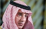 In this photo fromFebruary 4, 2019, Saudi Arabia Foreign Minister Adel al-Jubeir speaks with reporters during an European Union-Leagues Arab States ministerial meeting in Brussels. (John Thys/AFP)