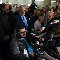 Aymen Derbali, a victim in the Quebec mosque attack, talks to the press in the Quebec City Courthouse following the sentencing of perpetrator Alexandre Bissonnette, on February 8, 2019. (Alice Chiche / AFP)