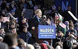 US Senator Elizabeth Warren announces her candidacy for president at the Everett Mills in Lawrence, MA on February 9, 2019. (Joseph PREZIOSO / AFP)