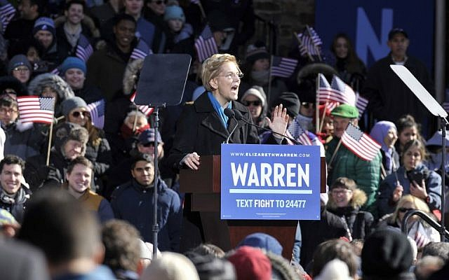 US Senator Elizabeth Warren announces her candidacy for president at the Everett Mills in Lawrence, MA on February 9, 2019. (Joseph PREZIOSO / AFP)