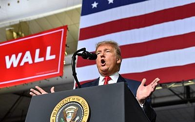 US President Donald Trump speaks during a rally in El Paso, Texas on February 11, 2019. (Nicholas Kamm/AFP)