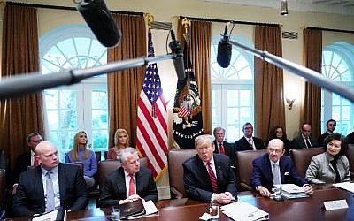 US President Donald Trump speaks during a cabinet meeting in the Cabinet Room of the White House in Washington, DC on February 12, 2019. (MANDEL NGAN / AFP)