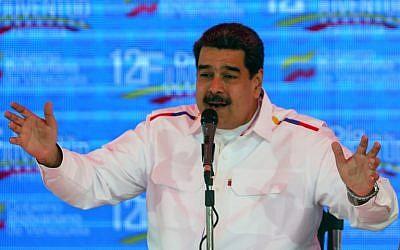 Venezuelan President Nicolas Maduro gestures while giving a speech in Caracas, Venezuela, on February 12, 2019. (Orangel  Hernandez/AFP)