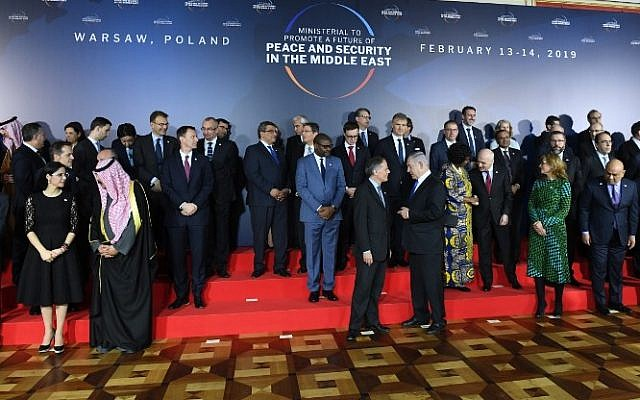 Participants are seen during preparations for a family photo at the conference on Peace and Security in the Middle East in Warsaw, on February 13, 2019. Israel's Prime Minister Benjamin Netanyahu is at center (Janek SKARZYNSKI / AFP)
