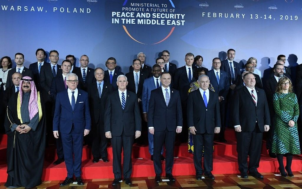 Polish Foreign Minister Jacek Czaputowicz, US Vice President Mike Pence, Poland's President Andrzej Duda, Prime Minister Benjamin Netanyahu and US Secretary of State Mike Pompeo pose for a family photo at the conference on Peace and Security in the Middle East in Warsaw, on February 13, 2019. (Janek SKARZYNSKI/AFP)