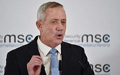Israel Resilience party chairman Benny Gantz speaks at the 55th Munich Security Conference in southern Germany, February 17, 2019. (Thomas Kienzle/AFP)