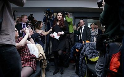 Former Labour party MP Luciana Berger (C), arrives with MPs Chris Leslie (3R), Angela Smith (2R) and Gavin Shuker, to speak at a press conference in London on February 18, 2019, where they announced their resignation from the Labour Party, and the formation of a new independent group of MPs (Daniel LEAL-OLIVAS / AFP)