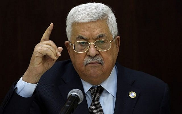 Palestinian Authority President Mahmoud Abbas speaks to Palestinian leaders at the Muqata, the PA headquarters, in the West Bank city of Ramallah, on February 20, 2019. (ABBAS MOMANI / AFP)
