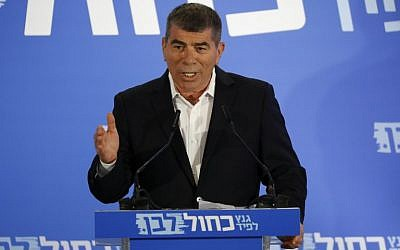 Former IDF chief of staff Gabi Ashkenazi speaks at the official unveiling of the new Blue and White party in Tel Aviv on February 21, 2019. (Jack Guez/AFP)
