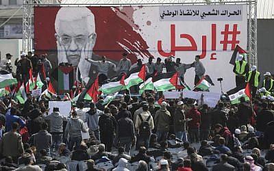 Palestinian demonstrators attend a protest demanding Palestinian president Mahmoud Abbas to step down, Gaza City, February 24, 2019. (MAHMUD HAMS/AFP)