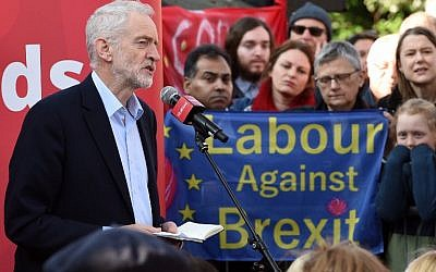 In this file photo taken on February 23, 2019 Labour party leader Jeremy Corbyn addresses a rally, in Broxtowe, central England. (Oli SCARFF / AFP)