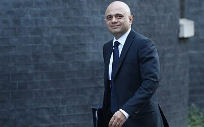 Then British Home Secretary Sajid Javid arrives for the weekly cabinet meeting at 10 Downing Street in London on February 26, 2019. (Daniel Leal-Olivas/AFP)