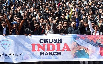 Students of Islami Jamiat Talaba, a wing of religious political party Pakistan Jamaat-e-Islami, chant slogans during an anti-India protest rally, in Lahore on February 27, 2019. (ARIF ALI/AFP)