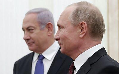 Russian President Vladimir Putin (R) meets with Prime Minister Benjamin Netanyahu at the Kremlin in Moscow on February 27, 2019. (Maxim Shemetov/Pool/AFP)