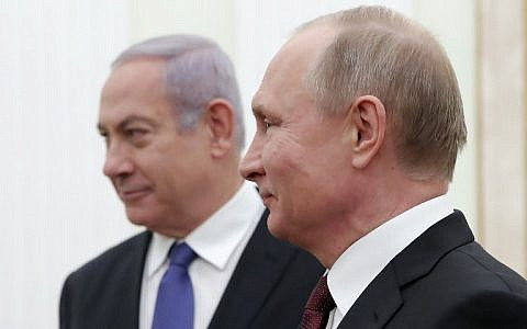 Russian President Vladimir Putin (R) meets with Prime Minister Benjamin Netanyahu at the Kremlin, in Moscow, on February 27, 2019. (Maxim Shemetov/Pool/AFP)