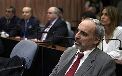 Argentine former federal judge Juan Jose Galeano looks on before being found guilty during his trial over accusations of attempting to block the 1994 AMIA bombing investigation, in Buenos Aires, on February 28, 2019. (Juan Mabromata/AFP)