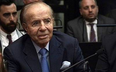 Former Argentine president and current senator Carlos Menem before hearing his sentence during his trial over accusations of attempting to block the 1994 AMIA bombing investigation, in Buenos Aires, on February 28, 2019. (Juan Mabromata/AFP)