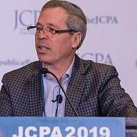 David Brown speaks at the annual conference of the Jewish Council for Public Affairs in Washington, D.C., Feb. 10, 2019. Brown co-chaired a committee examining the Jewish community relations field, (Risdon Photo via JTA)