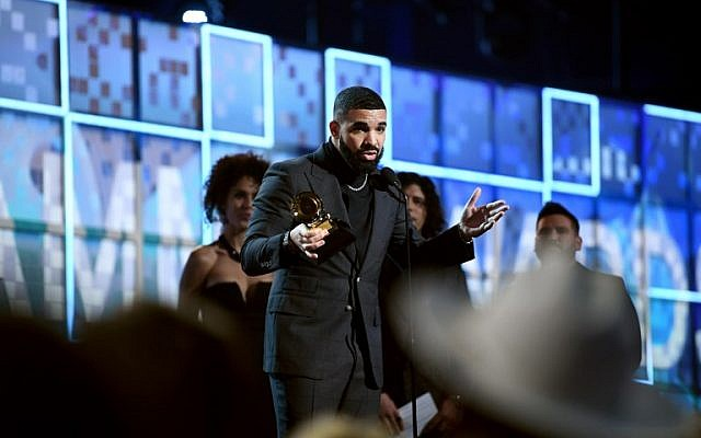 The Jewish Canadian rapper Drake accepts the Best Rap Song award for 'God's Plan' onstage during the 61st Annual Grammy Awards on February 10, 2019 at the Staples Center in Los Angeles, California. (Emma McIntyre/Getty Images for The Recording Academy/AFP)