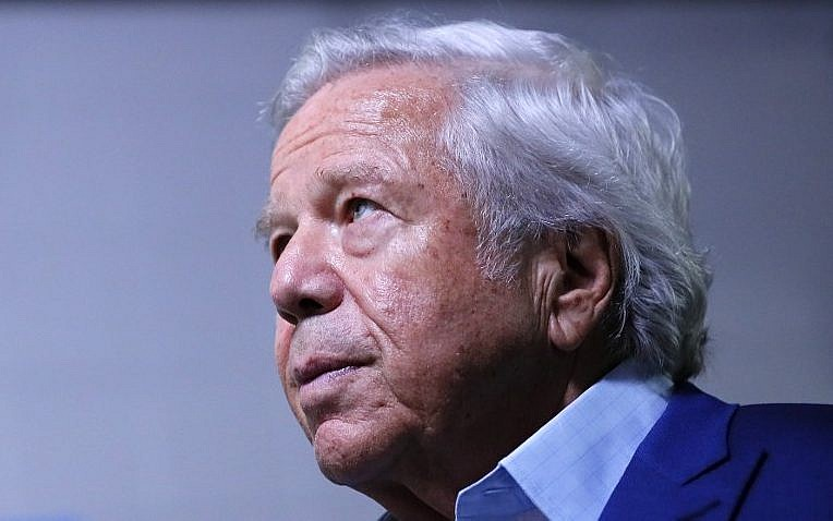 0feaff39ccb46 Owner Robert Kraft of the NFL s New England Patriots football team looks on  during Super Bowl