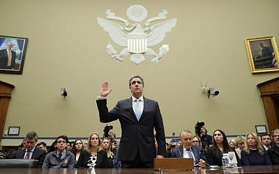 Michael Cohen, former attorney and fixer for US President Donald Trump, is sworn in before testifying before the House Oversight Committee on Capitol Hill February 27, 2019 in Washington, DC. (Chip Somodevilla/Getty Images/AFP)