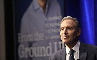 Howard Schultz speaks at a Barnes and Noble bookstore about his new book 'From the Ground Up' in New York City, Jan. 28, 2019. (Spencer Platt/Getty Images via JTA)
