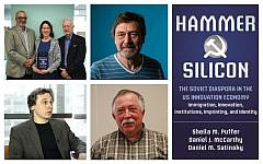 Clockwise from top left: 'Hammer and Silicon' authors Daniel Satinsky, Sheila Puffer, and Daniel McCarthy (Courtesy Sheila Puffer); scientist Slava Epstein (Adam Glanzman/ Northeastern University); Vladimir Torchilin, director of pharmaceutical biotechnology and nanomedicine at Northeastern University; anti-aging researcher at Harvard, Vadim Gladyshev (YouTube screenshot).