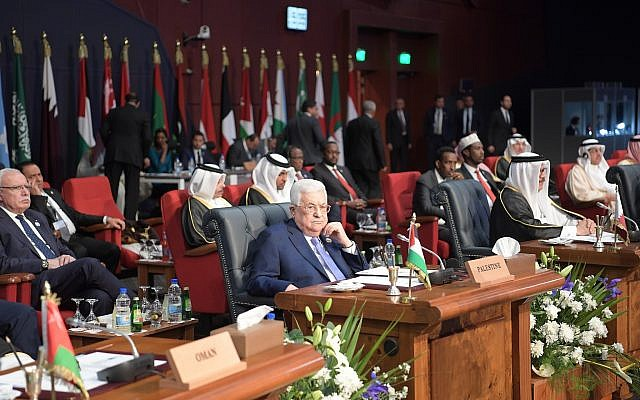 Palestinian Authority President Mahmoud Abbas at a meeting of Arab and European leaders in Sharm el-Sheikh on February 24, 2019. (Credit: Wafa)