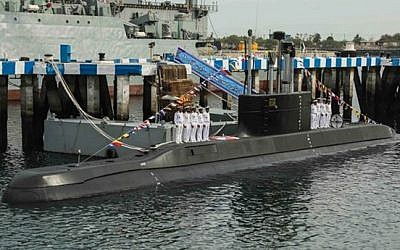Iran debuts its new Fateh submarine in the Persian Gulf, February 2019 (Fars)