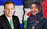 Lee Zeldin, left, and Ilhan Omar have been feuding on Twitter over Omar's support of the boycott Israel movement. (Wikimedia Commons via JTA)
