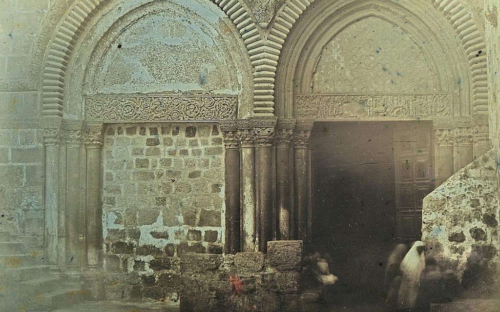 'Portal, Church of the Holy Sepulchre, Jerusalem, 1844,' A daguerrotype by Joseph-Philibert Girault de Prangey. (Bibliotheque nationale de France/Metropolitan Museum of Art via JTA)