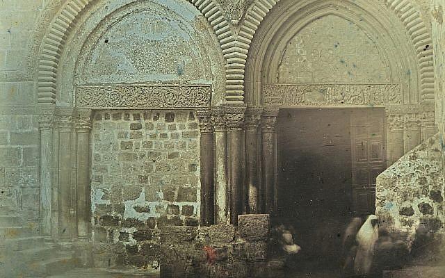 """Portal, Church of the Holy Sepulchre, Jerusalem, 1844."" A daguerrotype by Joseph-Philibert Girault de Prangey. (Bibliotheque nationale de France/Metropolitan Museum of Art via JTA)"