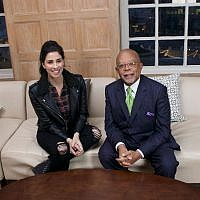 "Sarah Silverman L) with ""Finding Your Roots"" host Henry Louis Gates Jr. (PBS via JTA)"