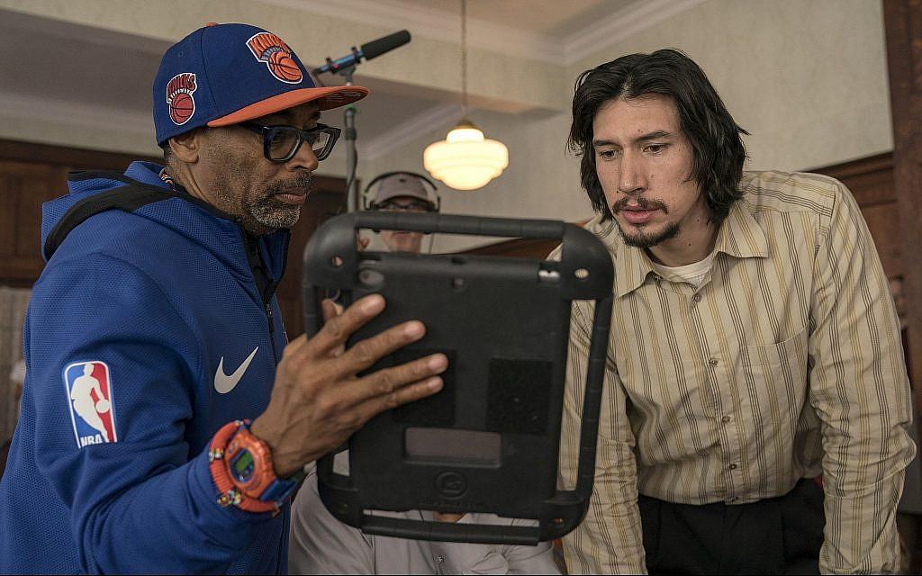 Spike Lee on the set of 'BlacKkKlansman' with Adam Driver, who plays Jewish detective Flip Zimmerman. (David Lee/Focus Features/via JTA)
