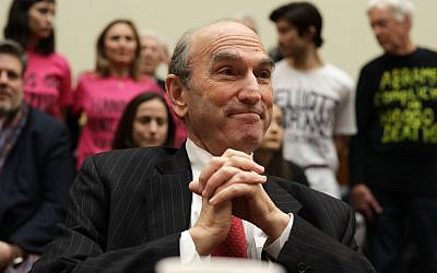 Elliott Abrams, now the US special representative for Venezuela, testifies at a hearing before the House Foreign Affairs Committee, Feb. 13, 2019. The hearing featured a testy exchange between Abrams and Rep. Ilhan Omar. (Alex Wong/Getty Images via JTA)