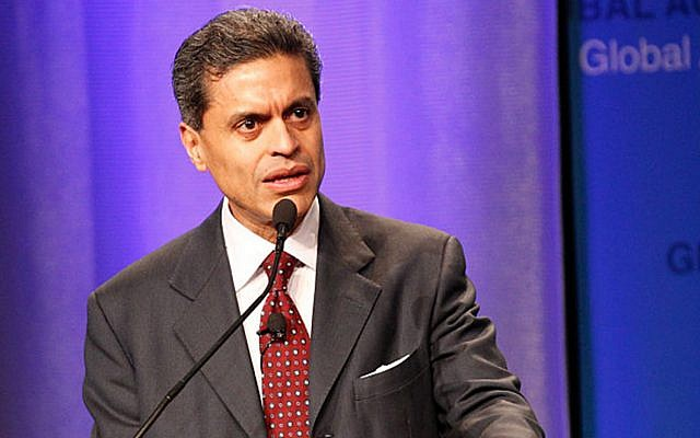 Fareed Zakaria, a prominent CNN host, wrote in an op-ed that Muslims should be 'particularly thoughtful' when speaking about the Jewish state and people. (Getty Images via JTA)