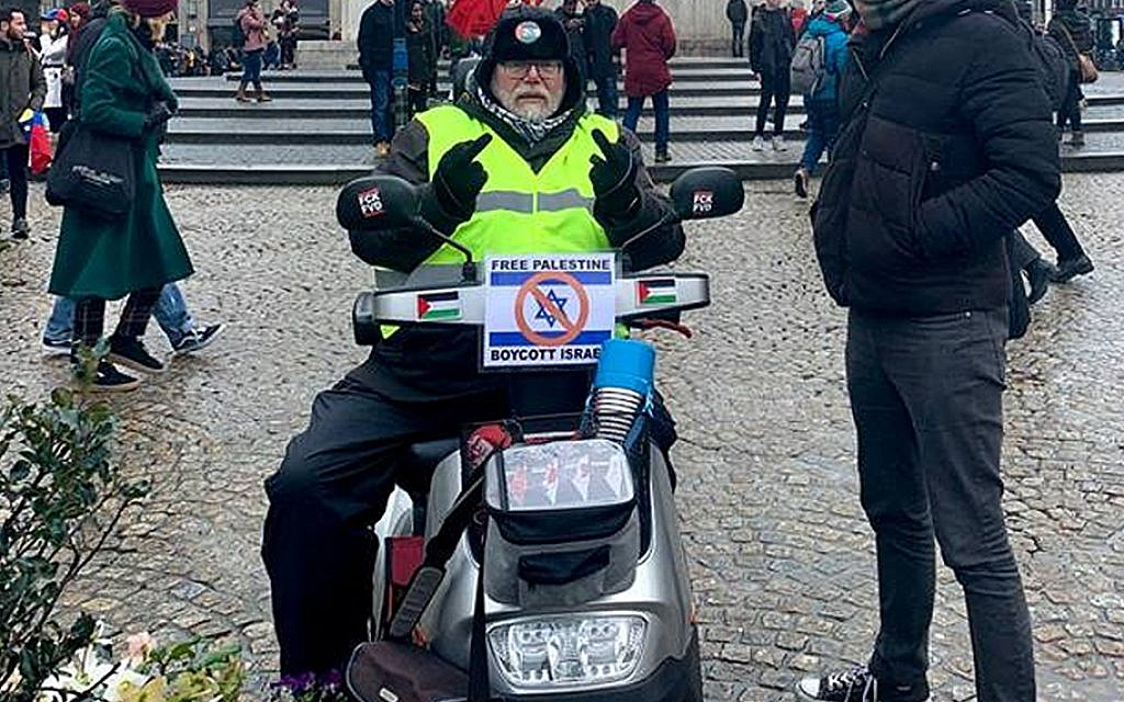 Dutch activist promotes BDS on an Israeli-made mobility scooter