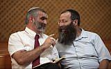 Otzma Yehudit party leaders Michael Ben-Ari, left, and Baruch Marzel, in 2012. (Yoav Ari Dudkevitch/Flash90/via JTA)