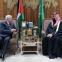 Palestinian Authority President Mahmoud Abbas and Saudi Crown Prince Mohammed bin Salman meeting in Riyadh on February 12, 2019. (Credit: Wafa)