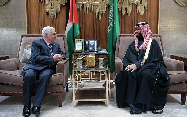 Palestinian Authority President Mahmoud Abbas and Saudi Crown Prince Mohammed bin Salman meeting in Riyadh on February 12, 2019. (Credit: Wafa)
