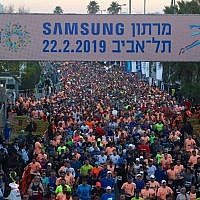 Runners at the start of the Tel Aviv Marathon, February 22, 2019. (Tel Aviv Municipality/YouTube)
