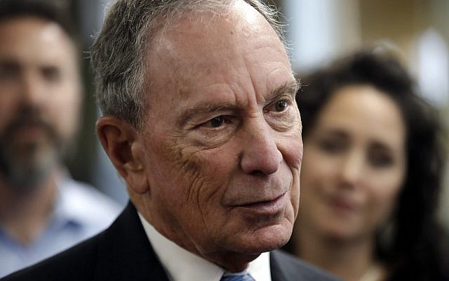 Potential Democratic presidential candidate Michael Bloomberg speaks to workers during a tour of the WH Bagshaw Company in Nashua, on January 29, 2019. (AP Photo/Elise Amendola)