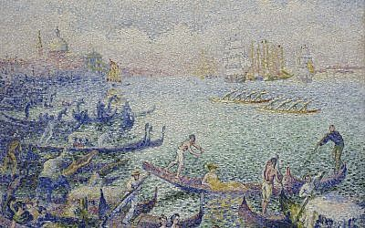 "This image provided by the Museum of Fine Arts, Houston, shows Henri-Edmond Cross' ""Regatta in Venice"" from 1903/04, which is currently on show in Potsdam. (Courtesy of Museum of Fine Arts, Houston via AP)"